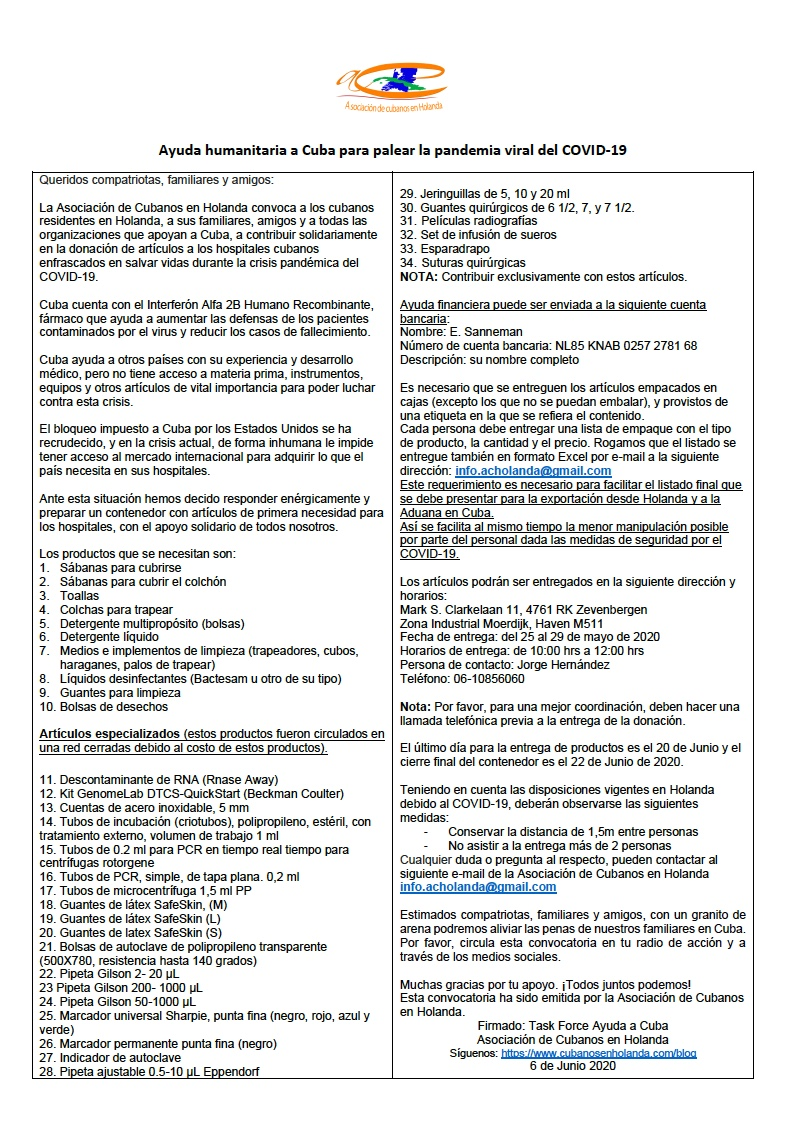 ES - Convocatoria Ayuda humanitaria a Cuba_