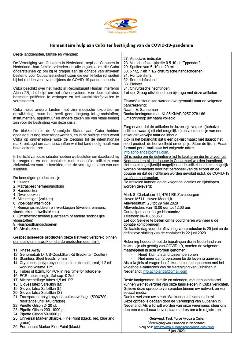NL - Convocatoria Ayuda humanitaria a Cuba_